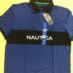 NAUTICA Men's Collar T-Shirt 100% Cotton Navy NWT
